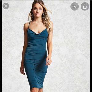 Forever 21 Teal Cowl Neck Midi Bodycon Dress